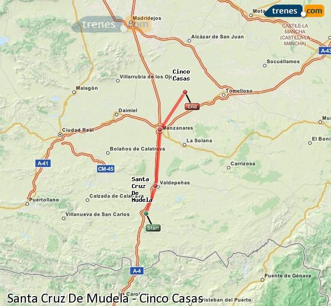 Enlarge map Trains Santa Cruz De Mudela to Cinco Casas