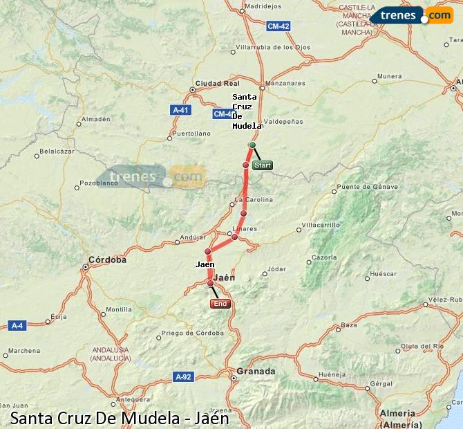 Enlarge map Trains Santa Cruz De Mudela to Jaén
