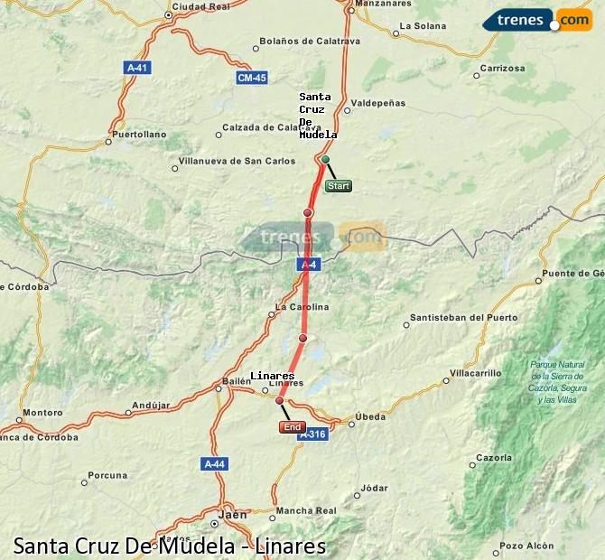 Enlarge map Trains Santa Cruz De Mudela to Linares