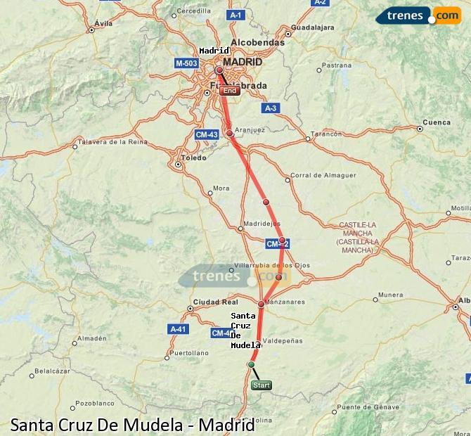 Enlarge map Trains Santa Cruz De Mudela to Madrid