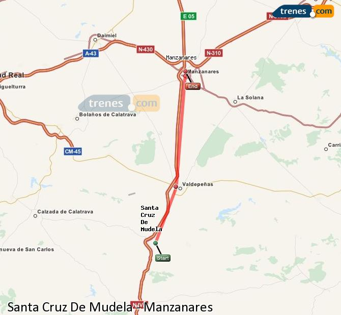 Enlarge map Trains Santa Cruz De Mudela to Manzanares
