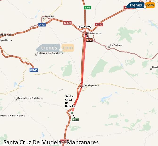 Ampliar mapa Comboios Santa Cruz De Mudela Manzanares