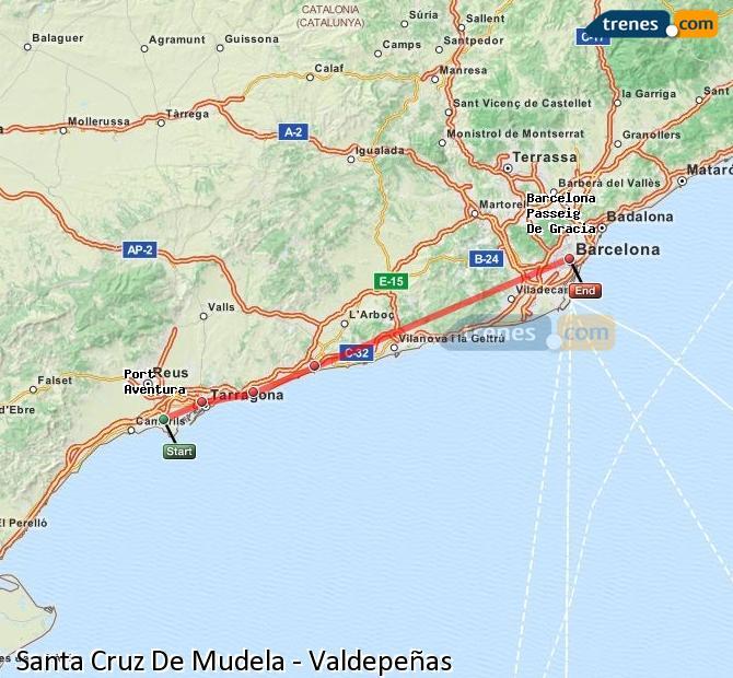 Ampliar mapa Trenes Santa Cruz De Mudela Valdepeñas