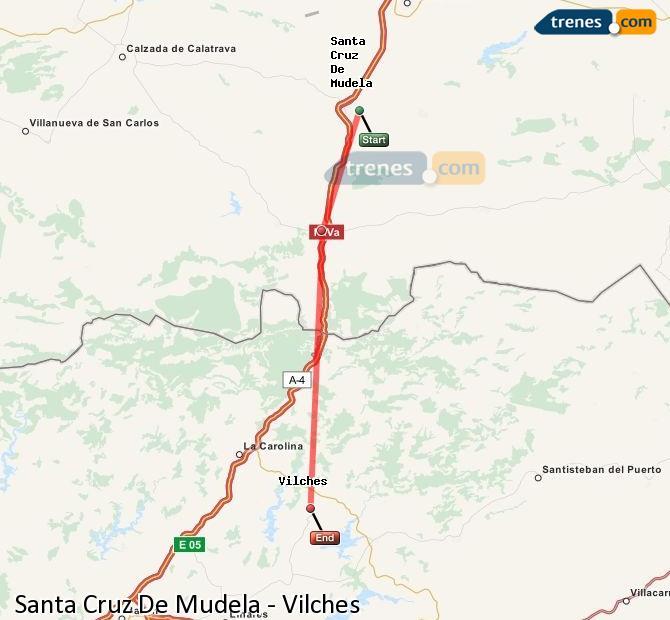 Enlarge map Trains Santa Cruz De Mudela to Vilches