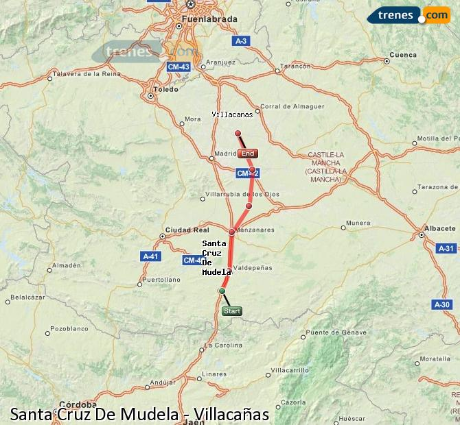 Enlarge map Trains Santa Cruz De Mudela to Villacañas