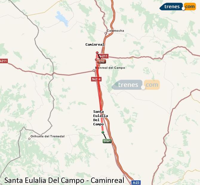 Agrandir la carte Trains Santa Eulalia Del Campo Caminreal