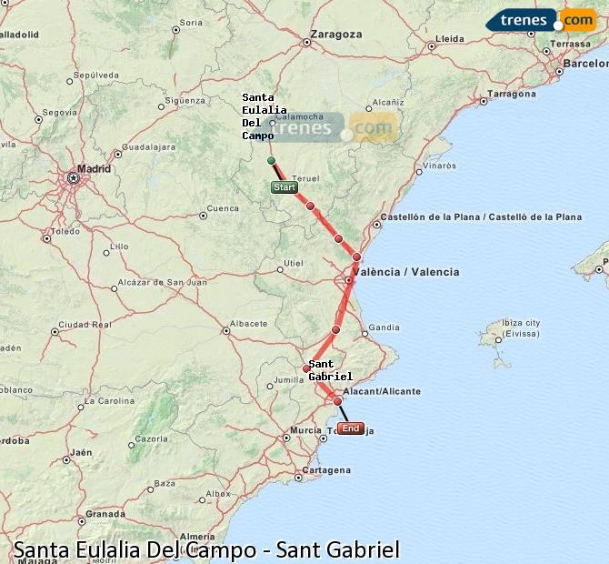 Ingrandisci la mappa Treni Santa Eulalia Del Campo Sant Gabriel