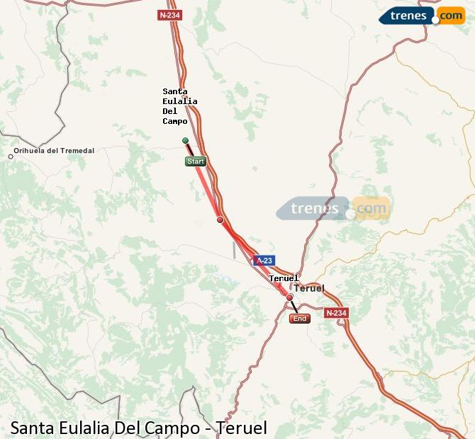 Ampliar mapa Trenes Santa Eulalia Del Campo Teruel