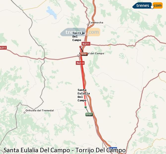 Enlarge map Trains Santa Eulalia Del Campo to Torrijo Del Campo