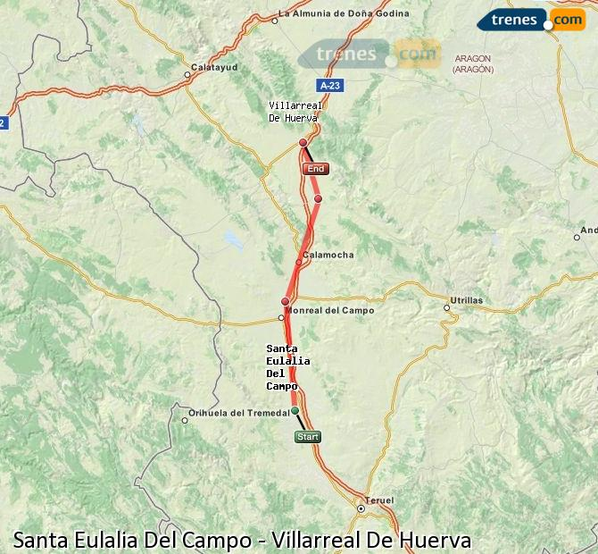 Enlarge map Trains Santa Eulalia Del Campo to Villarreal De Huerva