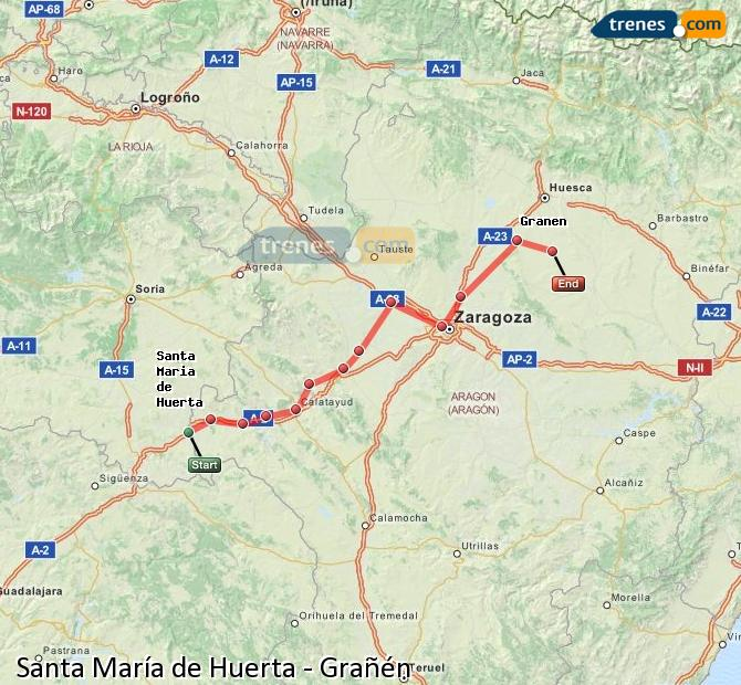 Enlarge map Trains Santa María de Huerta to Grañén