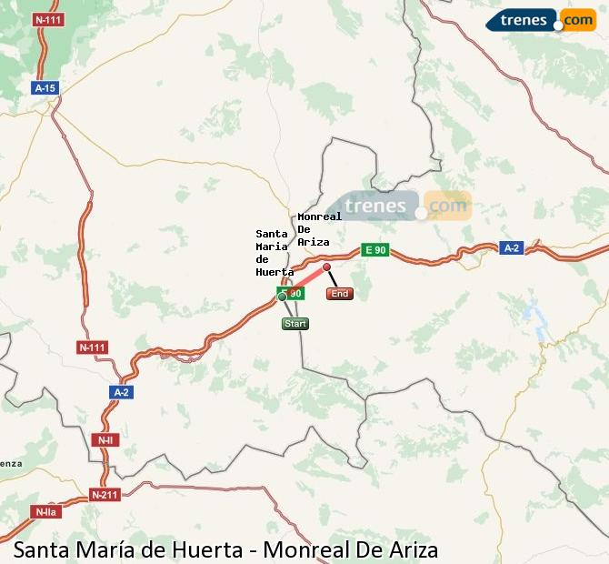 Ingrandisci la mappa Treni Santa María de Huerta Monreal De Ariza
