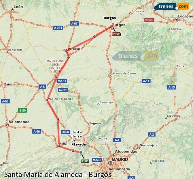 Karte vergrößern Züge Santa María de Alameda Burgos
