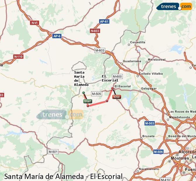 Enlarge map Trains Santa Maria de Alameda to El Escorial