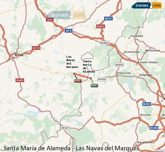Ingrandisci la mappa Treni Santa María de Alameda Las Navas del Marqués