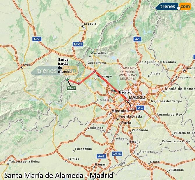 Karte vergrößern Züge Santa María de Alameda Madrid