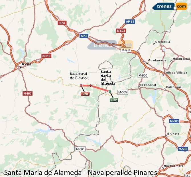Ingrandisci la mappa Treni Santa María de Alameda Navalperal de Pinares
