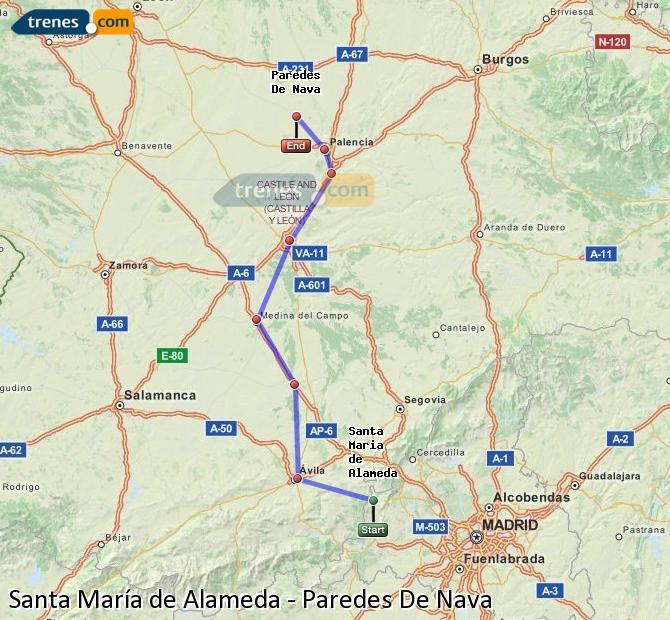 Ingrandisci la mappa Treni Santa María de Alameda Paredes De Nava
