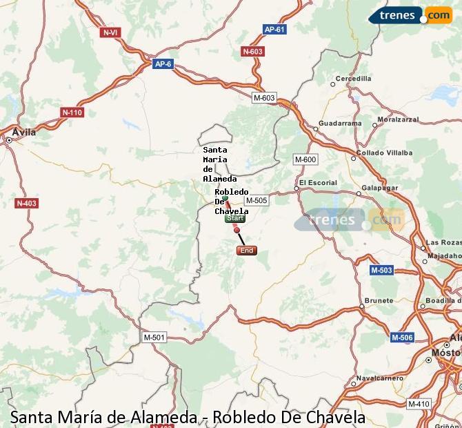 Ampliar mapa Comboios Santa María de Alameda Robledo De Chavela