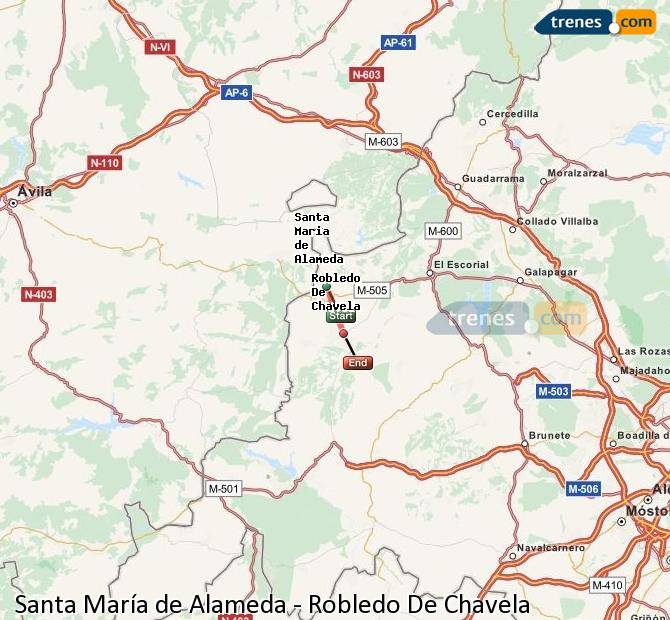 Enlarge map Trains Santa Maria de Alameda to Robledo De Chavela