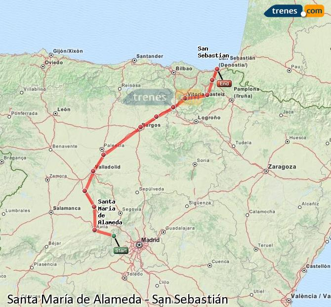 Enlarge map Trains Santa Maria de Alameda to Saint Sebastian
