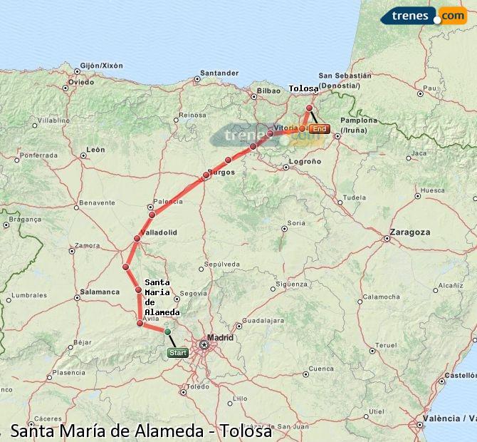 Ingrandisci la mappa Treni Santa María de Alameda Tolosa