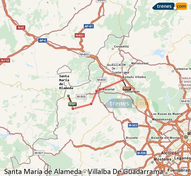 Enlarge map Trains Santa Maria de Alameda to Villalba De Guadarrama