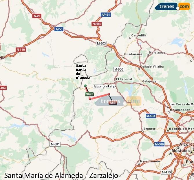 Enlarge map Trains Santa Maria de Alameda to Zarzalejo