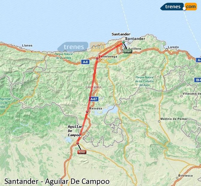 Ingrandisci la mappa Treni Santander Aguilar De Campoo