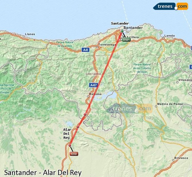 Ingrandisci la mappa Treni Santander Alar Del Rey