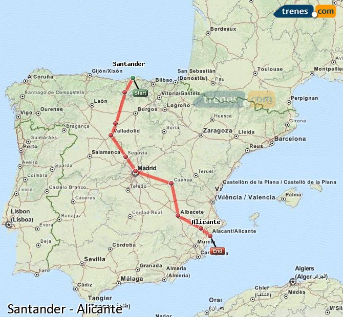 Enlarge map Trains Santander to Alicante