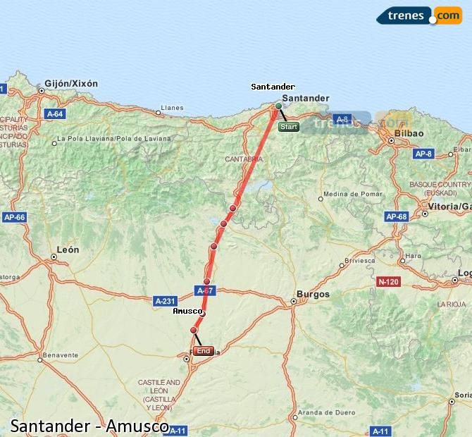 Ingrandisci la mappa Treni Santander Amusco
