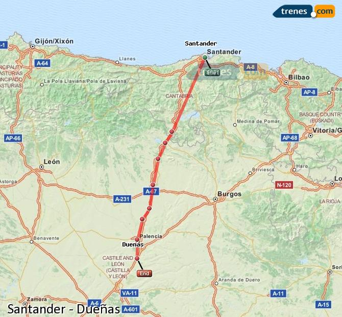Ingrandisci la mappa Treni Santander Dueñas