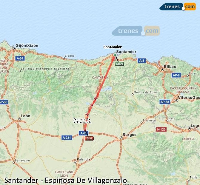 Enlarge map Trains Santander to Spinosa De Villagonzalo