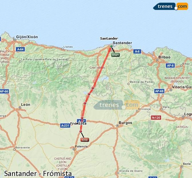 Karte vergrößern Züge Santander Frómista