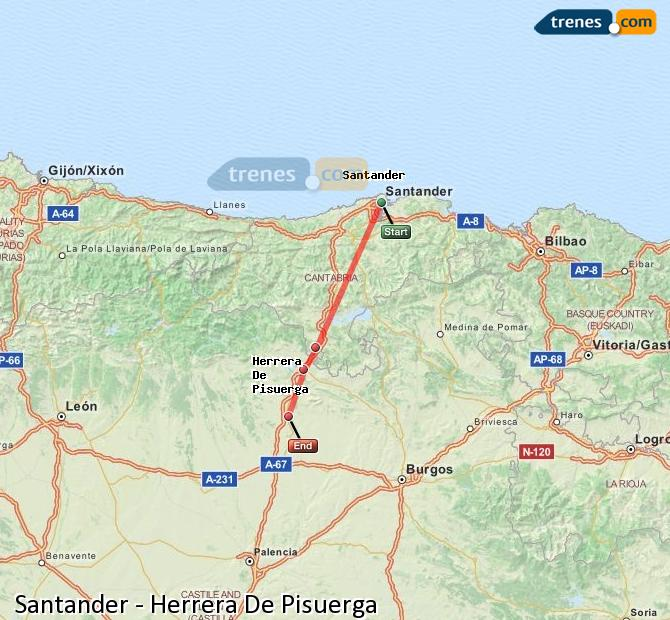 Enlarge map Trains Santander to Herrera De Pisuerga