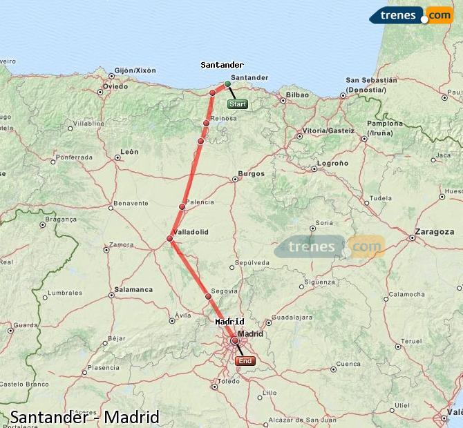 Enlarge map Trains Santander to Madrid