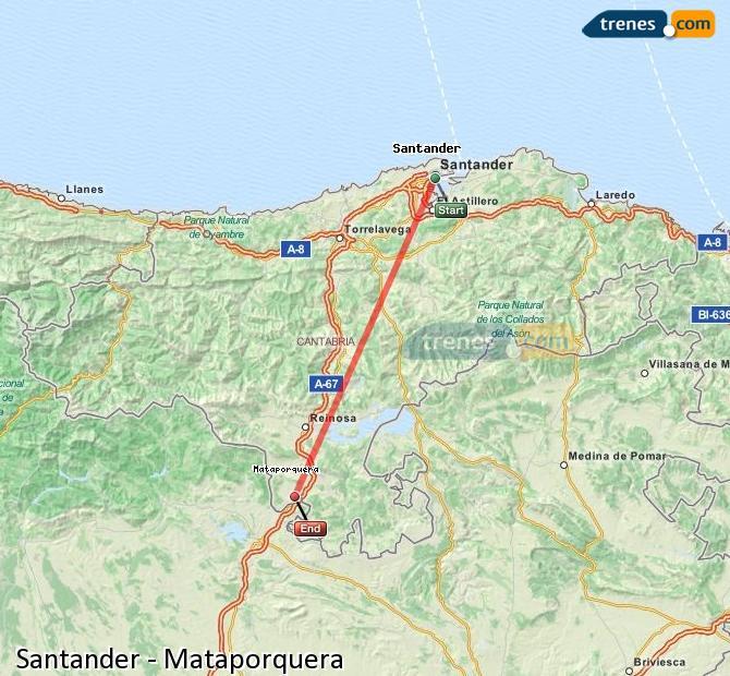 Enlarge map Trains Santander to Mataporquera
