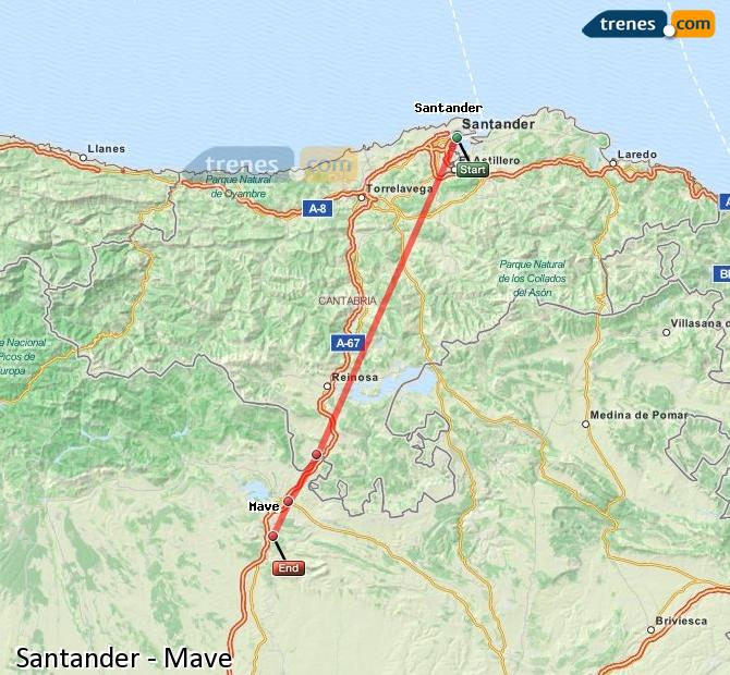 Enlarge map Trains Santander to Mave