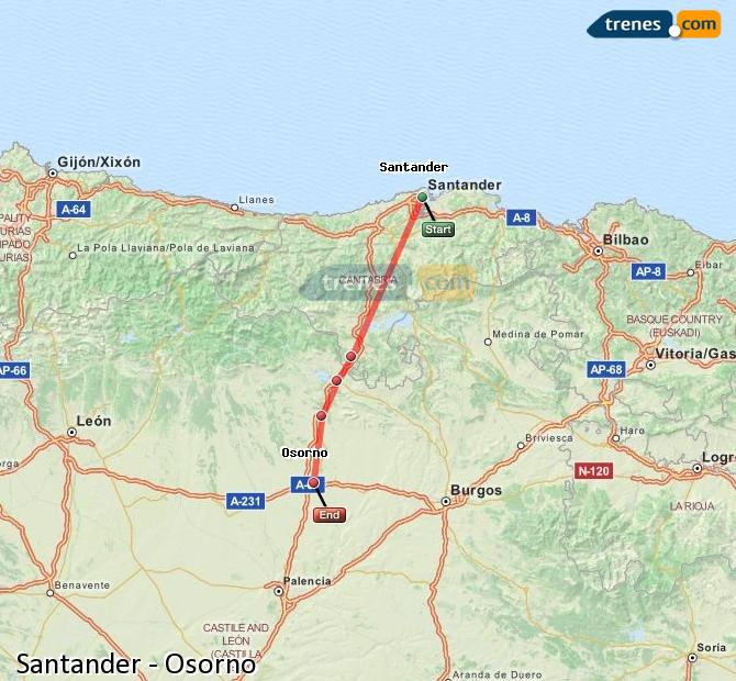 Enlarge map Trains Santander to Osorno