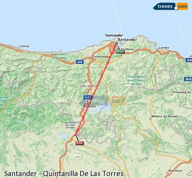 Enlarge map Trains Santander to Quintanilla De Las Torres