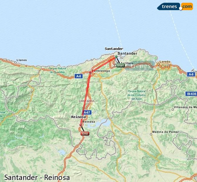 Enlarge map Trains Santander to Reinosa