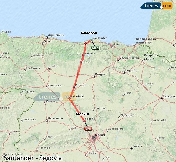 Ampliar mapa Trenes Santander Segovia
