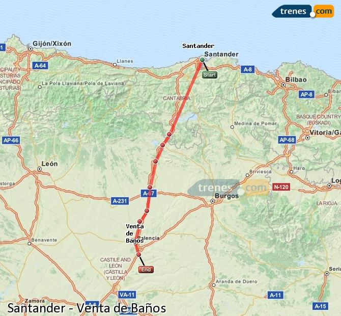 Enlarge map Trains Santander to Venta de Baños