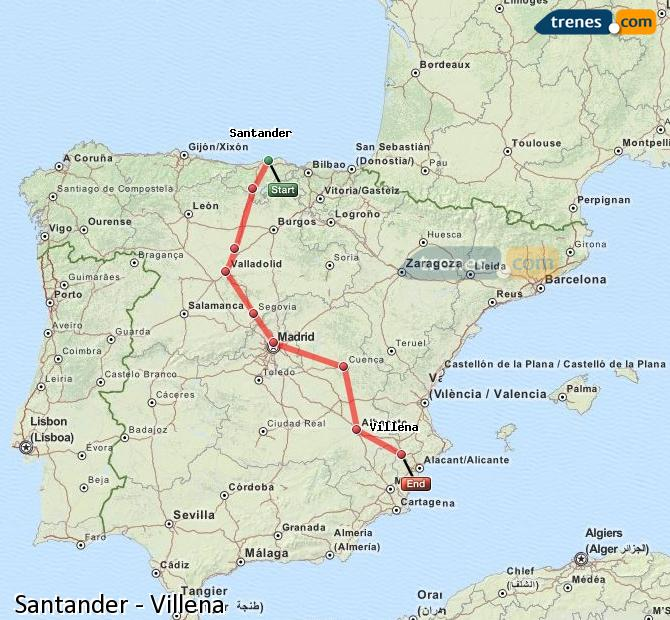 Enlarge map Trains Santander to Villena