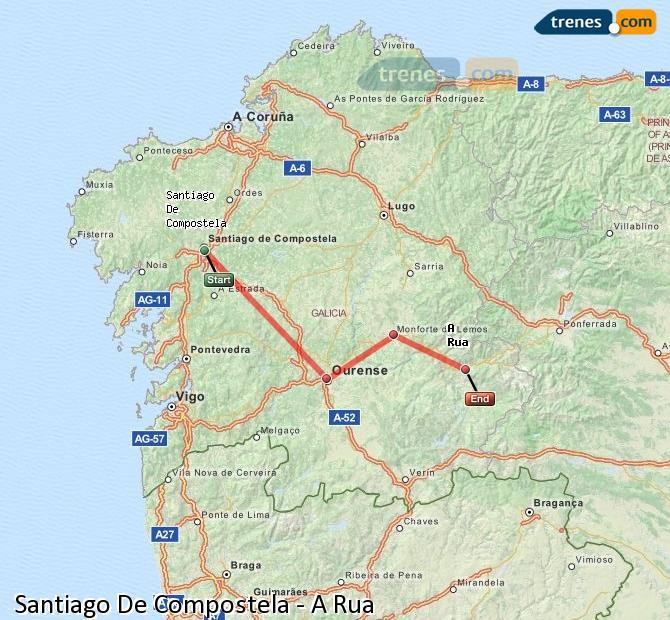 Agrandir la carte Trains Santiago De Compostela A Rua