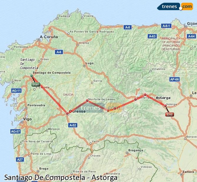Karte vergrößern Züge Santiago De Compostela Astorga