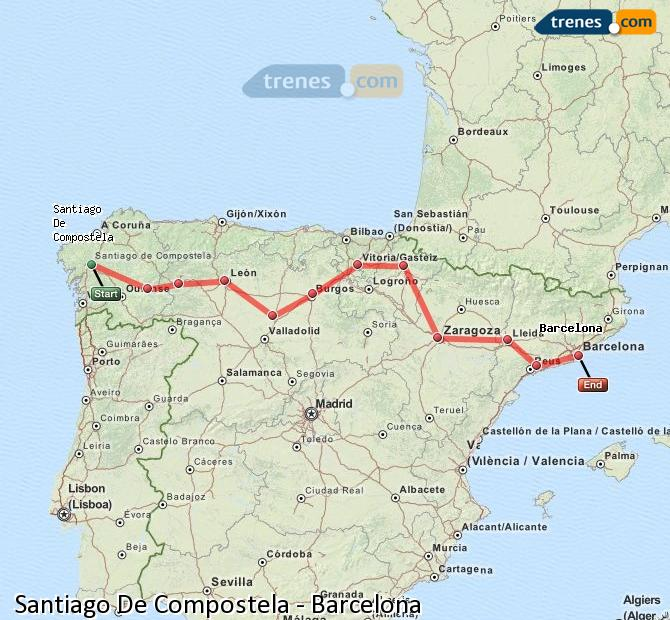 Karte vergrößern Züge Santiago De Compostela Barcelona