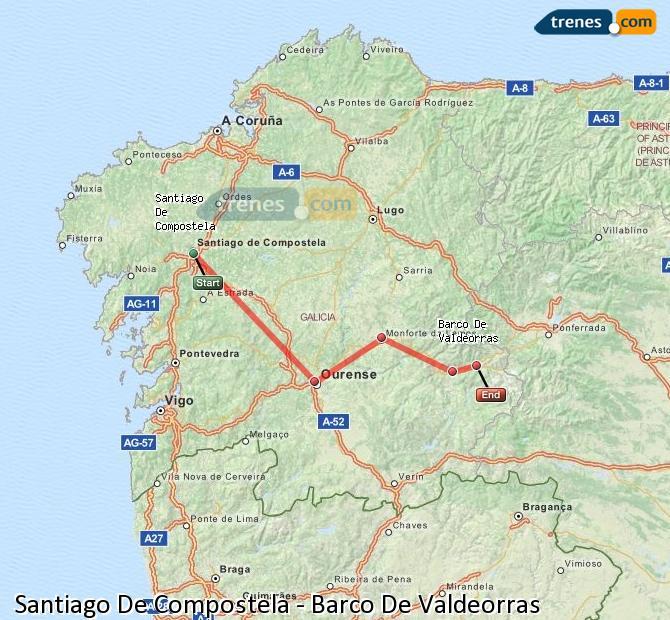 Ampliar mapa Trenes Santiago De Compostela Barco De Valdeorras