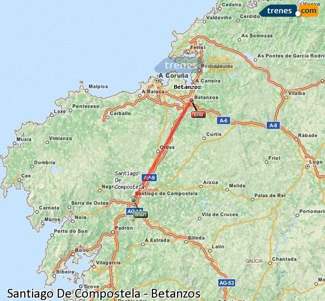 Enlarge map Trains Santiago de Compostela to Betanzos